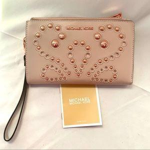 Michael Kors Adele embellished smartphone wallet